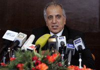 In this March 13, 2009 file photo, Zalmay Khalilzad, special adviser on reconciliation speaks during a news conference in Kabul, Afghanistan. (AP Photo/Rafiq Maqbool)