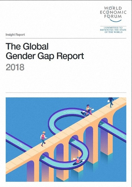 This screen capture shows the cover of the Global Gender Gap Report 2018 released by the World Economic Forum.