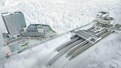 再開発事業完成予想図。左から「 ブランズタワー大船」、大規模商業施設、大船駅