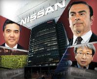 (右上から時計回りに)カルロス・ゴーン容疑者、元東京地検特捜部長の大鶴基成弁護士、森本宏・東京地検特捜部長