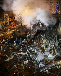 The site where an explosion occurred is seen in Sapporo's Toyohira Ward on Dec. 16, 2018. (Mainichi/Taichi Kaizuka)