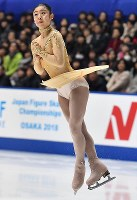 Ayaka Hosoda performs her free program at Japan's national figure skating championships at Towa Pharmaceutical Co.'s Ractab Dome in the city of Kadoma, Osaka Prefecture, on Dec. 23, 2018. (Mainichi/Kenji Ikai)