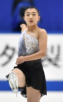 Kaori Sakamoto is seen after performing her free program at Japan's national figure skating championships at Towa Pharmaceutical Co.'s Ractab Dome in the city of Kadoma, Osaka Prefecture, on Dec. 23, 2018. (Mainichi/Kenji Ikai)
