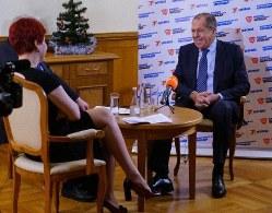ラジオ局のインタビューに答えたラブロフ外相。今後の対日交渉で歴史問題を取り上げていく考えを明示した=ロシア外務省HPより