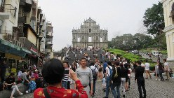 マカオにおけるイエズス会の拠点だったセントポール天主堂跡(写真は筆者撮影)