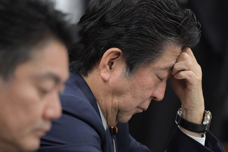 参院法務委員会で入管法改正案について質問を聞く安倍晋三首相(奥)(2018年12月6日)