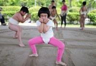 腰を落とし、すり足で土俵を移動する木原福さん=大阪府枚方市で2018年4月22日、小出洋平撮影
