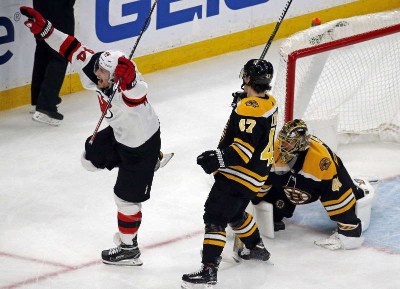 1d690701b New Jersey Devils left wing Miles Wood (44) celebrates a Devils goal  against Boston Bruins goaltender Jaroslav Halak as Bruins defenseman Torey  Krug (47) ...
