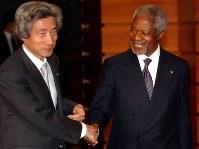 コフィ・アナンさん(第7代国連事務総長、ノーベル平和賞受賞)=2004年撮影