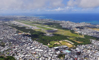 This Sept. 16, 2018 file photo shows U.S. Marine Corps Air Station Futenma in Ginowan, Okinawa Prefecture. An increasing number of U.S. military aircraft belonging to other bases are flying into the facility. (Mainichi/Michiko Morizono)