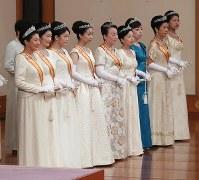 「新年祝賀の儀」に参列される皇太子妃雅子さまら女性皇族=皇居・宮殿「松の間」で2019年1月1日午前11時31分(代表撮影)