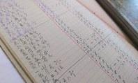 夏目漱石を含むクラスの成績が付けられた手帳。中央部に「夏目金之助」とある=福井県庁で2019年1月、大森治幸撮影