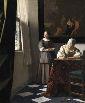 ヨハネス・フェルメール《手紙を書く婦人と召使い》1670-1671年頃 アイルランド・ナショナル・ギャラリー Presented, Sir Alfred and Lady Beit, 1987 (Beit Collection) Photo (c) National Gallery of Ireland, Dublin NGI.4535