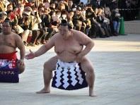 土俵入りを披露する稀勢の里(中央)=東京・明治神宮で2019年1月8日、飯山太郎撮影