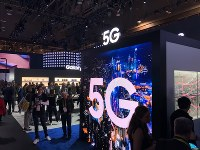 Samsung Electronics Co. exhibits its 5G high-speed mobile communication technology at the Consumer Electronics Show in Las Vegas, on Jan. 8, 2019. (Mainichi/Masahiro Nakai)