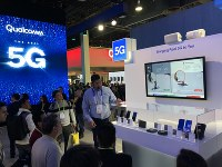 Qualcomm Technologies Inc.'s exhibition of devices for 5G high-speed mobile communication is displayed at the Consumer Electronics Show in Las Vegas, on Jan. 8, 2019. (Mainichi/Masahiro Nakai)