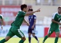 アジア杯【日本・トルクメニスタン】前半、先制ゴールを決めたトルクメニスタンのアマノフ=UAEのアブダビで2019年1月9日、AP