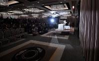 引退の記者会見に臨むレスリング女子の吉田沙保里さん=東京都内のホテルで2019年1月10日午後2時3分、宮間俊樹撮影