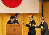 経済3団体(経団連、経済同友会、日本商工会議所)新年祝賀会には安倍晋三首相が