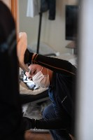 部屋の壁には腐敗臭が付いているため、拭き掃除やイオンを使った脱臭などを行う=京都市上京区で2018年11月15日、山崎一輝撮影