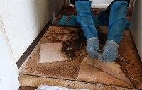 玄関の床には孤独死した男性の体液が染み込んでいたため、電動のこぎりなどを使ってはぎ取った=京都市上京区で2018年11月15日、山崎一輝撮影
