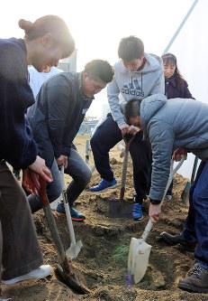 震災直後に埋めたタイムカプセルを掘る大沢小卒の新成人=岩手県山田町の大沢小で2019年1月12日午後、篠口純子撮影