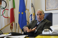 President of the Italian National Olympic Committee, CONI, Giovanni Malago' talks during an interview with The Associated Press, in Rome, on Jan. 11, 2019. (AP Photo/Andrew Medichini)