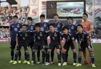 アジア杯【日本・オマーン】日本代表のスターティングメンバー=2018年1月13日UAE・アブダビのザイードスポーツシティスタジアムで、AP