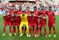 アジア杯【日本・オマーン】オマーンのスターティングメンバー=2018年1月13日UAE・アブダビのザイードスポーツシティスタジアムで、ロイター