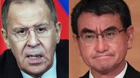 Japanese Foreign Minister Taro Kono ( right, Mainichi) and Russian foreign Minister Sergey Lavrov (AP)