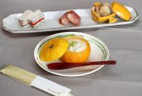 ゆずがまの茶わん蒸し(手前)とオードブル3種=梅田麻衣子撮影