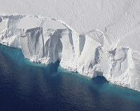 This 2016 photo provided by NASA shows the Getz Ice Shelf from 2016's Operation Icebridge in Antarctica. (Jeremy Harbeck/NASA via AP)