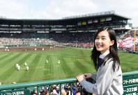 【第88回大会】応援イメージキャラクターの井頭愛海さん=阪神甲子園球場で2016年3月20日、久保玲撮影