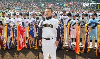 【第84回大会】選手宣誓をする石巻工の阿部翔人主将=2012年3月21日、後藤由耶撮影