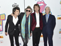 In this Nov. 15, 2016 file photo, The Rolling Stones, from left, Ronnie Wood, Keith Richards, Mick Jagger and Charlie Watts attend the opening night party for