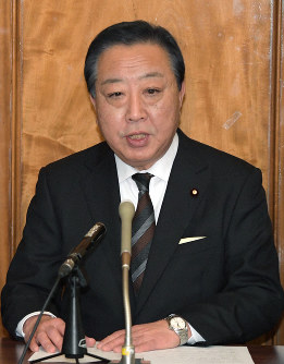 Former Prime Minister Yoshihiko Noda speaks at a press conference in Tokyo, on Jan. 16, 2019. (Mainichi/Masahiro Kawata)