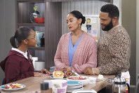 This image released by ABC shows Marsai Martin, from left, Tracee Ellis Ross and Anthony Anderson in a scene from