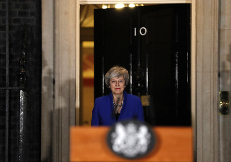 British Prime Minister Theresa May arrives to speak outside 10 Downing street in London, on Jan. 16, 2019. (AP Photo/Frank Augstein)