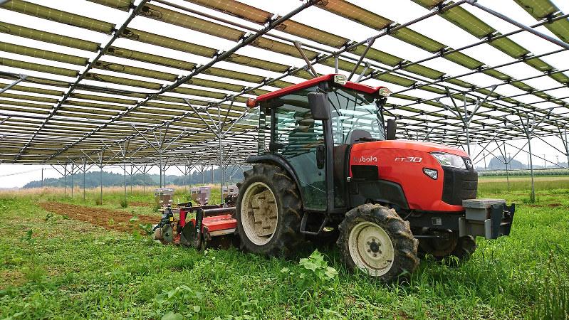 トラクターなど農業機械を支障なく運用できるよう、太陽光パネルは十分な高さ(最低2メートル以上)に設置される=千葉エコ・エネルギー提供