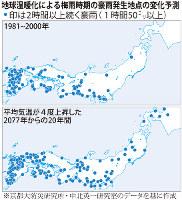 地球温暖化による梅雨時期の豪雨発生地点の変化予測
