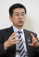 NTT西日本の小林充佳社長=大阪市中央区で、大西達也撮影