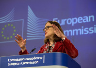 European Union Trade Commissioner Cecilia Malmstrom speaks during a media conference at EU headquarters in Brussels, on Jan. 18, 2019. (AP Photo/Virginia Mayo)
