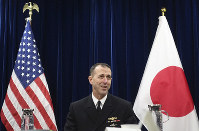 Chief of U.S. Naval Operations Adm. John Richardso talks to reporters on regional security issues in Tokyo on Jan. 18, 2019. (AP Photo/Mari Yamaguchi)