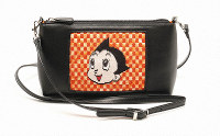 A bag is displayed with fine embroidery depicting Astro Boy. (Photo courtesy of Tokyo's Edogawa Ward Government)