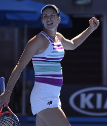 United States' Danielle Collins celebrates after defeating Germany's Angelique Kerber during their fourth round match at the Australian Open tennis championships in Melbourne, Australia, Sunday, Jan. 20, 2019. (AP Photo/Andy Brownbill)