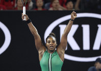 United States' Serena Williams celebrates after defeating Romania's Simona Halep in their fourth round match at the Australian Open tennis championships in Melbourne, Australia, on Jan. 21, 2019. (AP Photo/Kin Cheung)