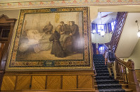 This Nov. 29, 2017 photo shows a mural of Christopher Columbus at Notre Dame in South Bend, Indiana. (Robert Franklin/South Bend Tribune via AP)