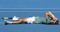 Greece's Stefanos Tsitsipas celebrates after defeating Spain's Roberto Bautista Agut in their quarterfinal match at the Australian Open tennis championships in Melbourne, Australia, on Jan. 22, 2019. (AP Photo/Mark Schiefelbein)