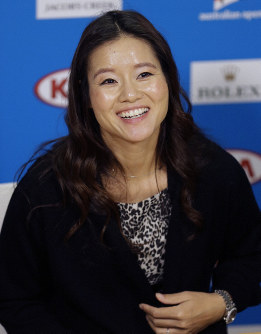 In this Jan. 20, 2015 file photo, retired tennis championship Li Na of China speaks at the Australian Open tennis championship in Melbourne, Australia. (AP Photo/Mark Baker)