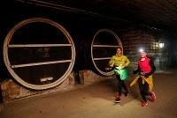1月21日、モルドバ首都近郊の地下で200キロメートルにわたって広がる世界最大のワインセラーで20日、走行距離10キロのマラソンが行われ、数百人の出場者が頭に付けたライトを頼りに暗闇の鍾乳洞を駆け抜けた。(2019年 ロイター/Gleb Garanich)